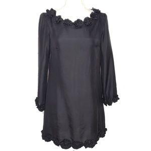 French Connection Black Silk Rosette Mini Dress